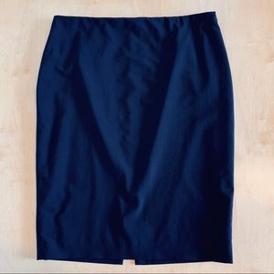 Elie Tahari Navy Wool Pencil Skirt Side Zip Sz 12